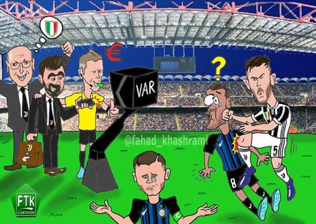 """Foto. Dall'Arabia Saudita la vignetta su Inter-Juve: """"Così corrompono gli arbitri"""""""