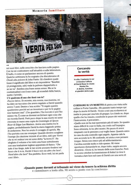 Carolina Orlandi, Se tu potessi vedermi ora, Mondadori, 2018. Intervista su La 7. Libro biografico su David Rossi, manager del Monte Paschi di Siena