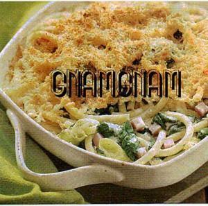 Bucatini con spinaci al gratin