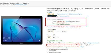Huawei MediaPad T3 10 LTE in offerta a 153 euro venduto e spedito da Amazon
