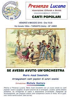 ANTICHI CANTI  POPOLARI di Puglia e Basilicata arrangiati da Mario Azad Donatiello.