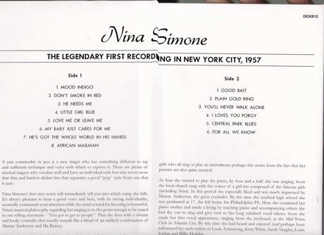 NINA SIMONE, The legendary first recording in New York city, 1957. Copertina dell'LP in vinile