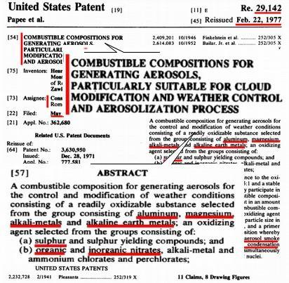 Un brevetto del C.N.R. conferma che gli aerei commerciali manipolano il clima tramite i carburanti