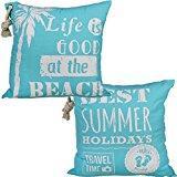 """Bada Bing - Cuscino con scritta """"Beach"""", estivo, con cordino, turchese blu bianco, Cotone, 2er, 40 x 40 cm"""