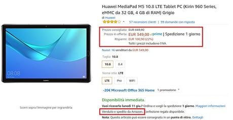 Offerte Amazon: Huawei MediaPad M5 e M3 Lite in offerta a prezzi scontati