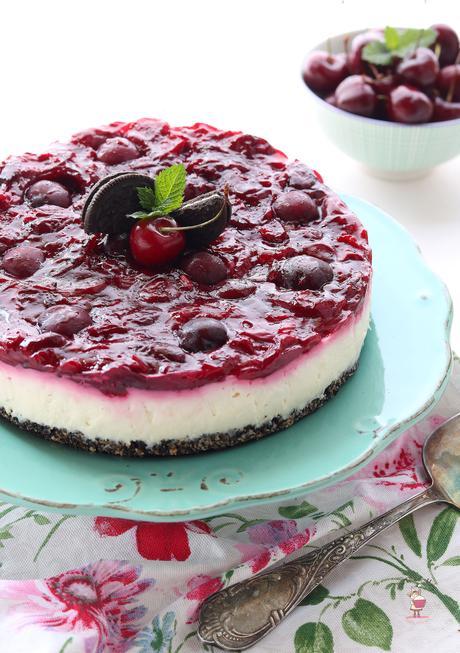 Cheesecake con oreo e ciliege senza cottura