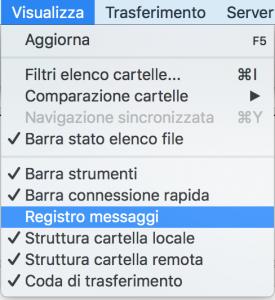 Controllare file di log di Filezilla
