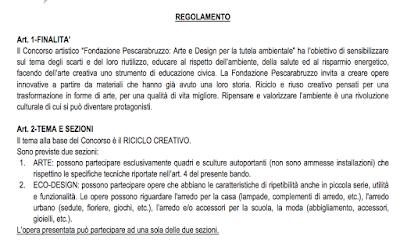 ARTE E DESIGN PER LA TUTELA AMBIENTALE- CONCORSO ARTISTICO FONDAZIONE PESCARABRUZZO
