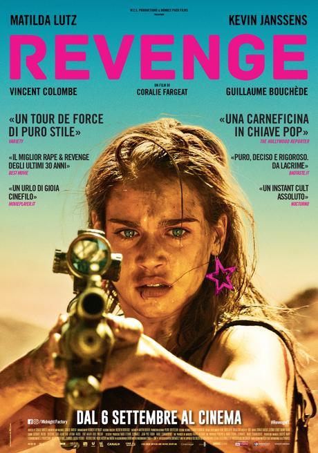 Revenge, il film di Coralie Fargeat con Matilda Lutz, dal 6 settembre al Cinema con Koch Media. Il poster