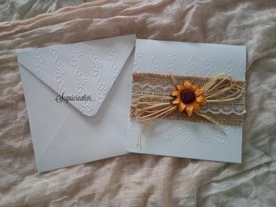 Partecipazioni Matrimonio Con Girasoli : Partecipazioni matrimonio tema girasoli con pizzo rafia e juta