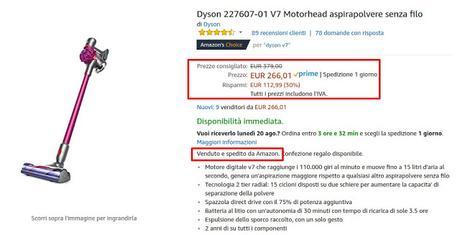 Offerta speciale Amazon: aspirapolvere senza filo Dyson 227607-01 V7 a 266 euro