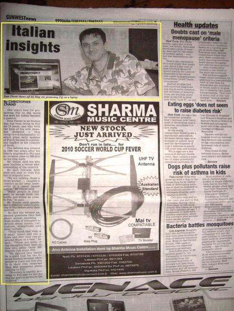 Versione cartacea dell'intervista a Ivan sul Fiji Sun