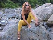 Rosegal.com Pantaloni color senape canotta pizzo.