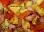 Secondi: Teglia patate, peperoni wurstel