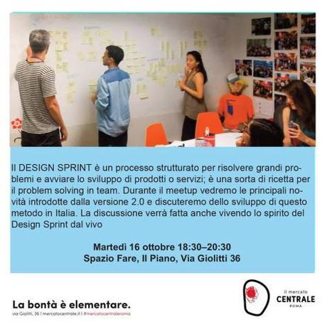 16 ottobre 2018 – Meetup sul Design Sprint al Mercato Centrale