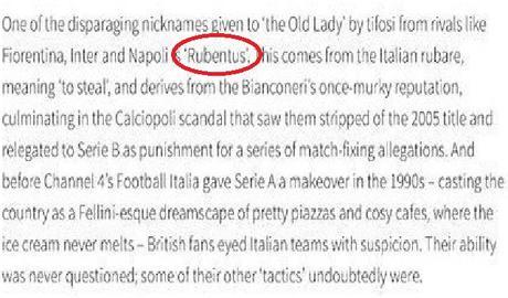 """Manchester, sul sito """"Rubentus"""" al posto di Juventus: """"Deriva dalla torbida reputazione"""""""