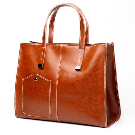 Classic Tan Genuine Leather Handbags Business Tote Bag for Office Lady