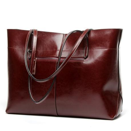 Brown Leather Tote Fashion Genuine Leather Shopper Bag