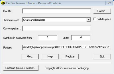 Trovare password dei file rar