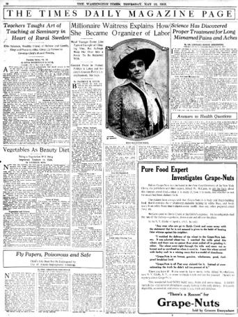 """Maud Younger, suffragista e """"cameriera milionaria""""."""