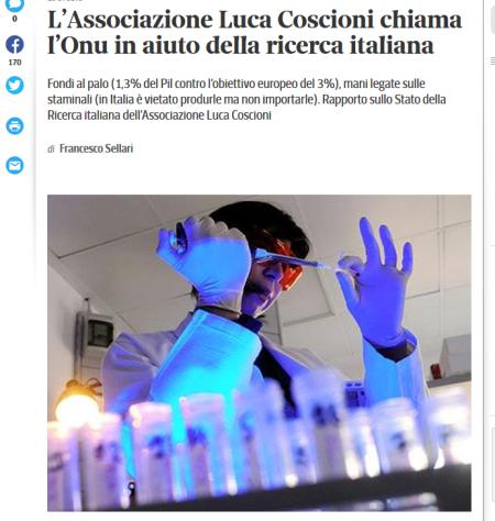 L'Associazione Luca Coscioni chiama l'Onu in aiuto della ricerca italiana