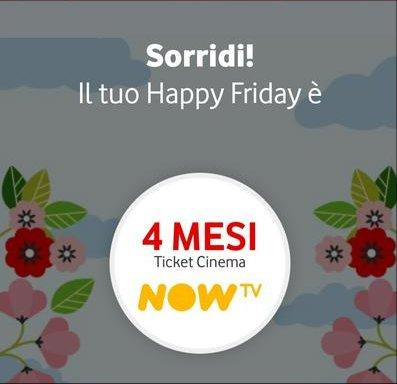 4 mesi gratuiti del ticket Cinema NOW TV in regalo con Vodafone Happy