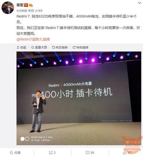 Lei Jun promette una super autonomia per Redmi 7 che arriva in Europa ad un prezzo poco conveniente