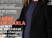 Carla bruni mostra incinta, vestita, sulla copertina elle