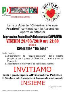 Chiesina Uzzanese e le Sue Frazioni, venerdì 29 marzo a Capanna ultimo dei primi incontri nelle frazioni.