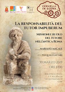 CULTURA- CORI (lt). La responsabilità del tutor impuberum. Missioni e ruolo del tutore nell'antica Roma
