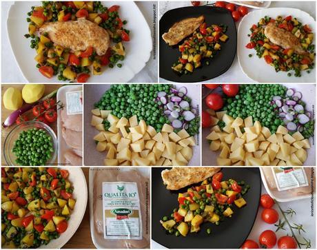 Fettine di pollo con verdure tricolore