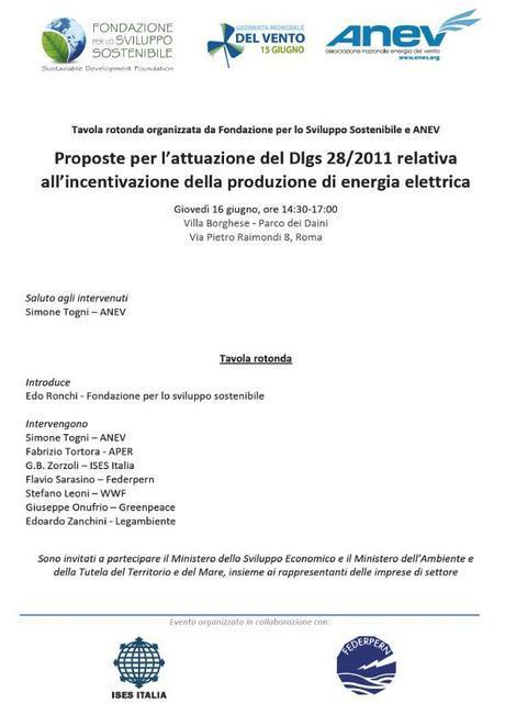 Tavola rotonda Rinnovabili - giovedi' 16 giugno 2011