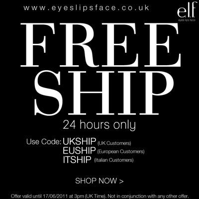 e.l.f. FREE SHIPPING COST 24 hours only!