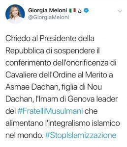 Il Presidente Mattarella avrebbe dovuto negare l'onorificenza alla Asmae Dachan ?