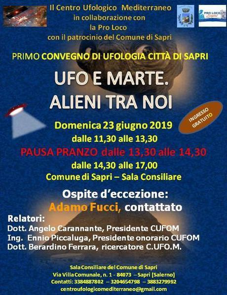 CONVEGNO UFO E ALIENI A SAPRI DOMENICA 23 GIUGNO