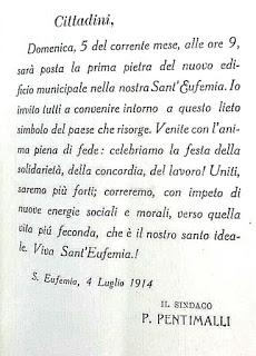 5 luglio 1914: il discorso di Pietro Pentimalli per la posa della prima pietra del palazzo municipale di Sant'Eufemia d'Aspromonte