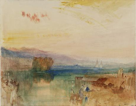 Ginevra, i monti dello Jura e Isle Rousseau, alba - 1841 Acquarello e matita su carta - (C) Tate Londra 2019
