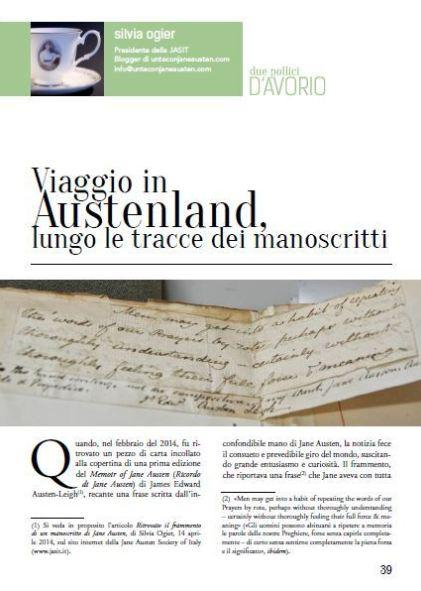 All'inseguimento dei manoscritti di Jane Austen, in giro per il mondo | Da Due Pollici D'Avorio, Jane Austen Society of Italy (JASIT)