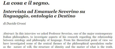 La cosa e il segno. Intervista ad Emanuele Severino su linguaggio, ontologia e Destino, di Davide Grossi, link a file in formato pdf in www.academia.edu