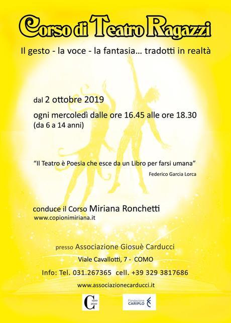 """Corsi di """"Recitazione- Teatro è terapia"""" per adulti al centro civico di Camerlata ; Corsi per bambini all'istituto Giosuè Carducci di Como, v.le Cavallotti, a cura di www.teatroarte.it"""