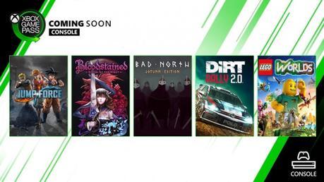 Xbox Game Pass settembre 2019: Jump Force, Bloodstained, Dirt Rally 2 e altri giochi gratis per gli abbonati - Notizia