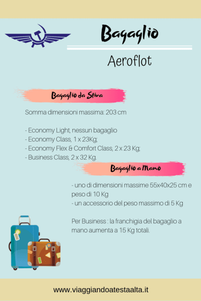 Bagaglio Aeroflot: tutto quello che devi sapere