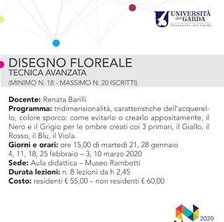 UNIVERSITA' DEL GARDA 2019/2020 - DESENZANO - MUSEO RAMBOTTI - CORSI DI DISEGNO FLOREALE