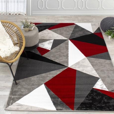 tappeti moderni colori grigio e rosso