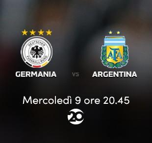 Amichevole, Germania - Argentina in diretta sul Canale 20 Mediaset