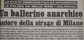 50 anni da Piazza Fontana - il mostro sbattuto in prima pagina