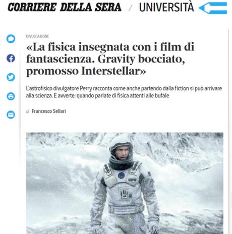 «La fisica insegnata con i film di fantascienza. Gravity bocciato, promosso Interstellar»