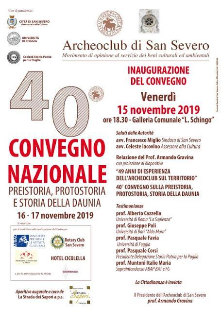 40° Convegno Nazionale di Preistoria, Protostoria e Storia della Daunia - 15/17 novembre 2019