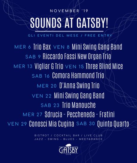 """16 novembre 2019 """"Jazz by Gatsby: Comora Hammond Trio + Jam Session!"""" al Gatsby Cafè'"""