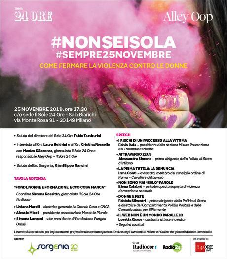 Giornata Internazionale contro la violenza sulle donne, Alley Oop-Il Sole 24 Ore e Sorgenia in #nonseisola #sempre25novembre